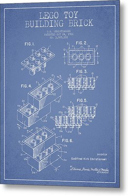 Lego Toy Building Brick Patent - Light Blue Metal Print by Aged Pixel