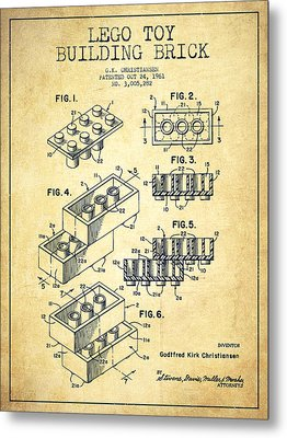 Lego Toy Building Brick Patent - Vintage Metal Print by Aged Pixel