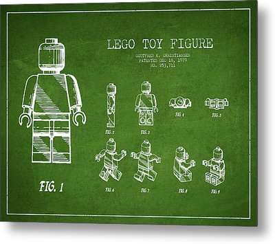 Lego Toy Figure Patent Drawing From 1979 - Green Metal Print by Aged Pixel