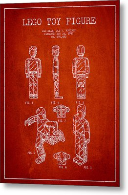 Lego Toy Figure Patent - Red Metal Print by Aged Pixel