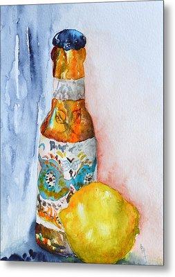 Lemon And Pilsner Metal Print by Beverley Harper Tinsley