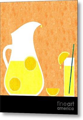 Lemonade And Glass Orange Metal Print by Andee Design