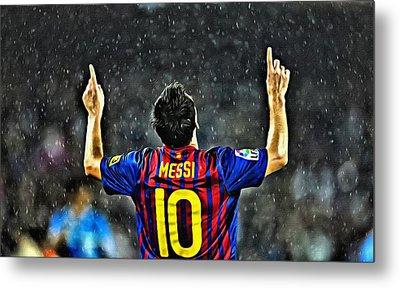Leo Messi Poster Art Metal Print by Florian Rodarte