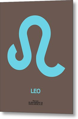 Leo Zodiac Sign Blue Metal Print by Naxart Studio