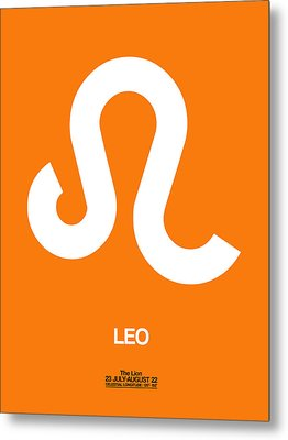 Leo Zodiac Sign White On Orange Metal Print by Naxart Studio