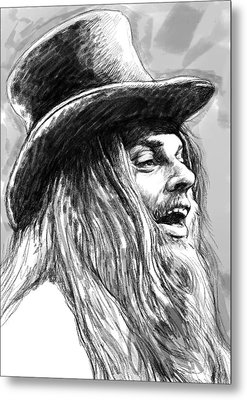 Leon Russell Art Drawing Sketch Portrait Metal Print by Kim Wang