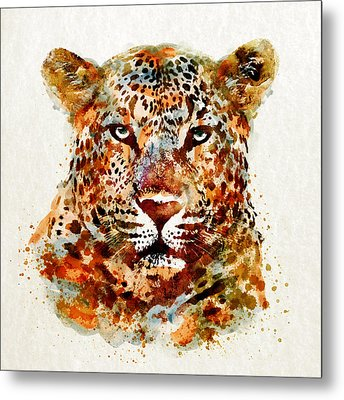 Leopard Head Watercolor Metal Print by Marian Voicu