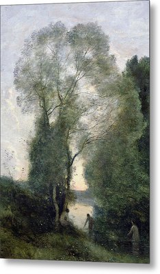 Les Baigneuses Metal Print by Jean Baptiste Camille Corot