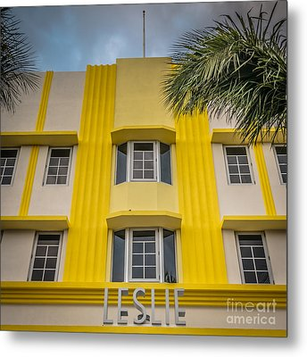 Leslie Hotel South Beach Miami Art Deco Detail - Square - Hdr St Metal Print by Ian Monk
