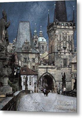 Lesser Town Bridge Towers Metal Print by Pedro L Gili