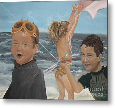 Beach - Children Playing - Kite Metal Print by Jan Dappen