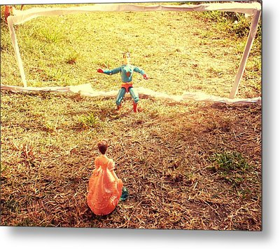 Let's Play Football Together Metal Print by Trav Shadows