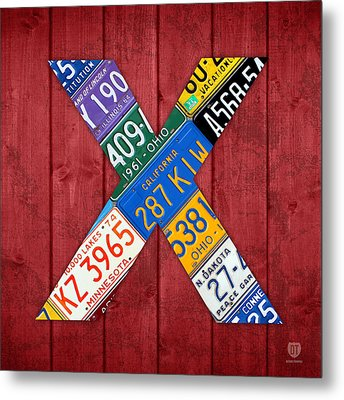 Letter X Alphabet Vintage License Plate Art Metal Print by Design Turnpike