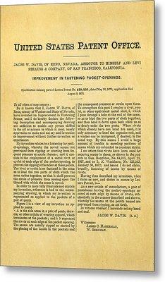 Levi Strauss Jeans Patent Art 1872 Metal Print by Ian Monk