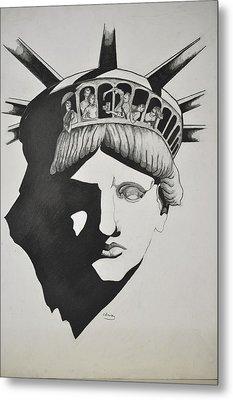 Liberty Head With People Metal Print by Glenn Calloway