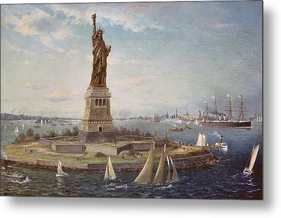 Liberty Island New York Harbor Metal Print by Fred Pansing