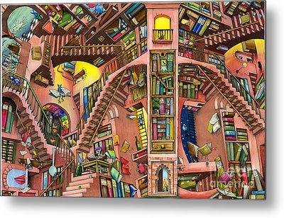 Library Metal Print by Colin Thompson
