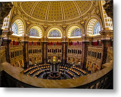 Library Of Congress Main Reading Room Metal Print by Susan Candelario