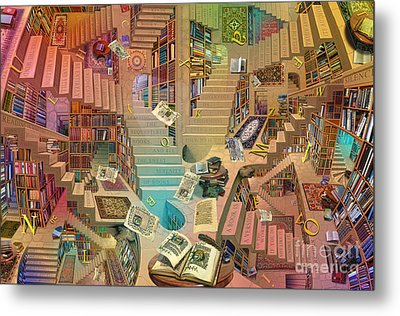 Library Of The Mind Art Metal Print by Garry Walton