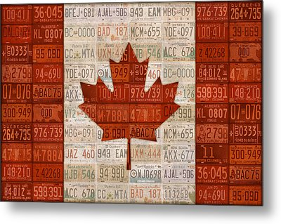 License Plate Art Flag Of Canada Metal Print by Design Turnpike