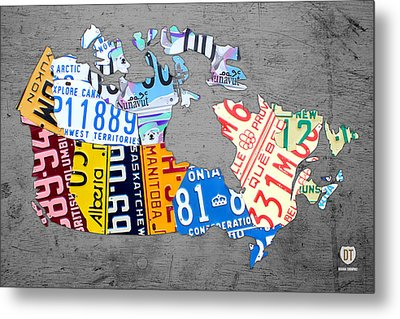License Plate Map Of Canada On Gray Metal Print by Design Turnpike