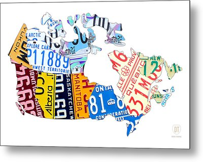 License Plate Map Of Canada On White Metal Print by Design Turnpike