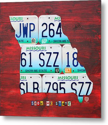 License Plate Map Of Missouri - Show Me State - By Design Turnpike Metal Print by Design Turnpike