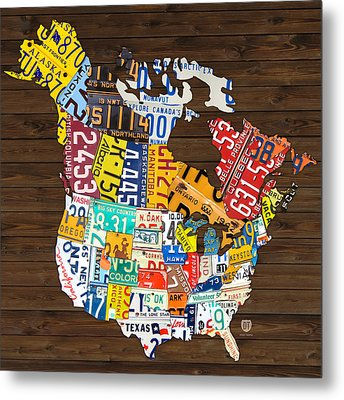 License Plate Map Of North America - Canada And United States Metal Print by Design Turnpike