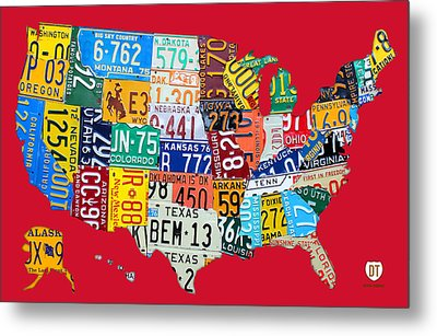 License Plate Map Of The United States On Bright Red Metal Print by Design Turnpike