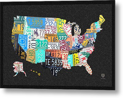 License Plate Map Of The United States On Gray Felt With Black Box Frame Edition 14 Metal Print by Design Turnpike