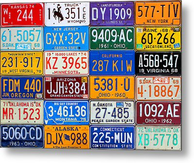 License Plates Of The Usa - Our Colorful American History Metal Print by Design Turnpike