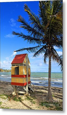 Lifeguard Hut On A Beach Metal Print by George Oze