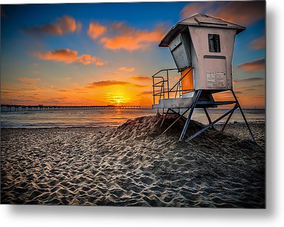 Lifeguard Sunset Metal Print by Robbie Snider