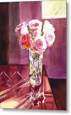 Light And Roses Impressionistic Still Life Metal Print by Irina Sztukowski