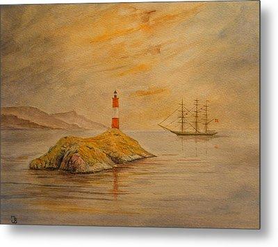 Lighthouse At Cornwall Metal Print by Juan  Bosco