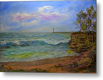 Lighthouse By The Lake Metal Print by Michael Mrozik