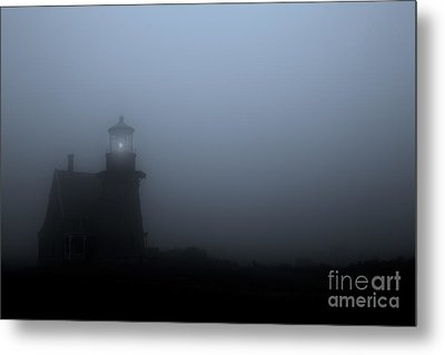 Lighthouse In Fog Metal Print by Diane Diederich