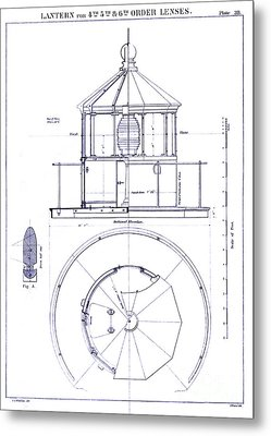 Lighthouse Lantern Lense Order Blueprint Metal Print by Jon Neidert