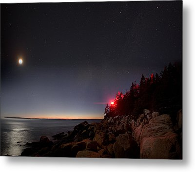 Lighthouse Moon Metal Print by Brent L Ander