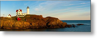 Lighthouse On The Coast, Cape Neddick Metal Print by Panoramic Images