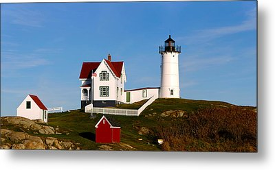 Lighthouse On The Hill, Cape Neddick Metal Print by Panoramic Images