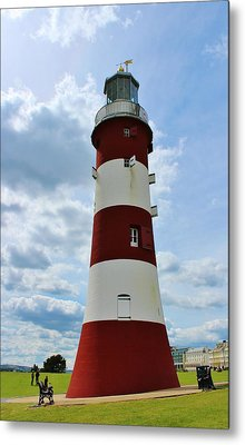 Lighthouse On The Hoe Metal Print by Theresa Selley
