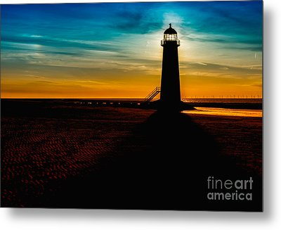 Lighthouse Silhouette Metal Print by Adrian Evans
