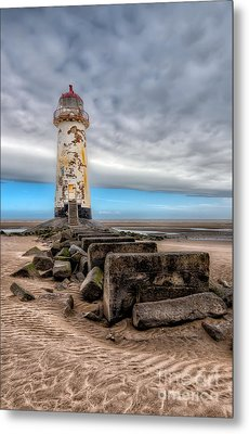 Lighthouse Steps Metal Print by Adrian Evans