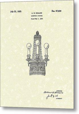 Lighting Fixture 1925 Patent Art Metal Print by Prior Art Design
