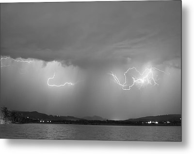 Lightning And Rain Over Rocky Mountain Foothills Bw Metal Print by James BO  Insogna