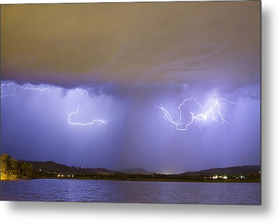 Lightning And Rain Over Rocky Mountain Foothills Metal Print by James BO  Insogna