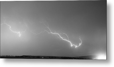 Lightning Bolts Coming In For A Landing Panorama Bw Metal Print by James BO  Insogna