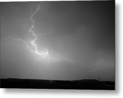 Lightning Goes Boom In The Middle Of The Night Bw Metal Print by James BO  Insogna