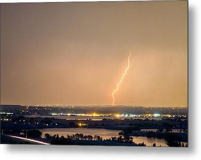 Lightning Striking Over Coot Lake And Boulder Reservoir Metal Print by James BO  Insogna